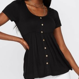 Black babydoll scoop neck button front tshirt